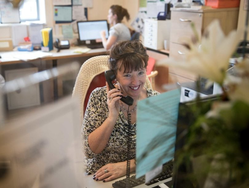 Receptionist on the phone