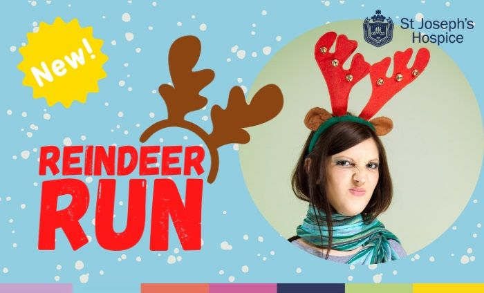 Woman with antlers head band pretending to be a reindeer for St Joseph's Hospice