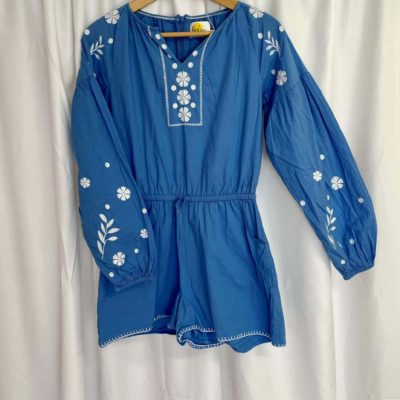 Boden Blue White Playsuit Front